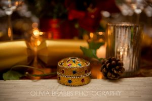 festive table setting with gold and red