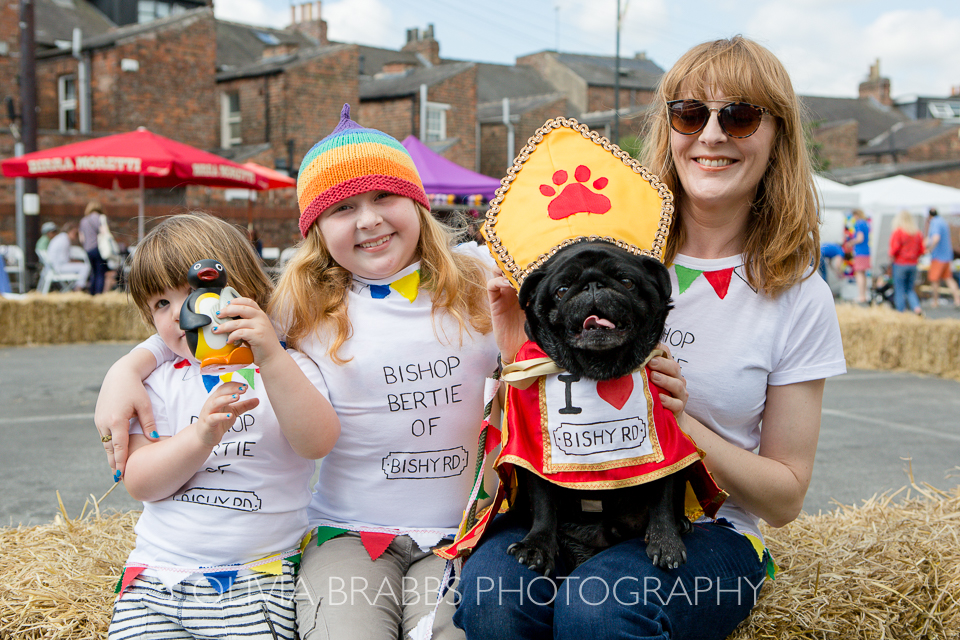 family and dog at bishy road street party 2017 and bishy barkers dog show