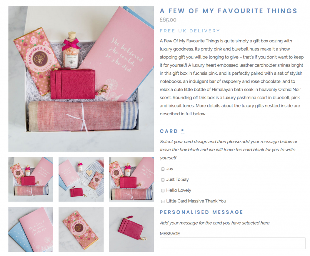 screen shot of client website showing flat lay photography for gift box company