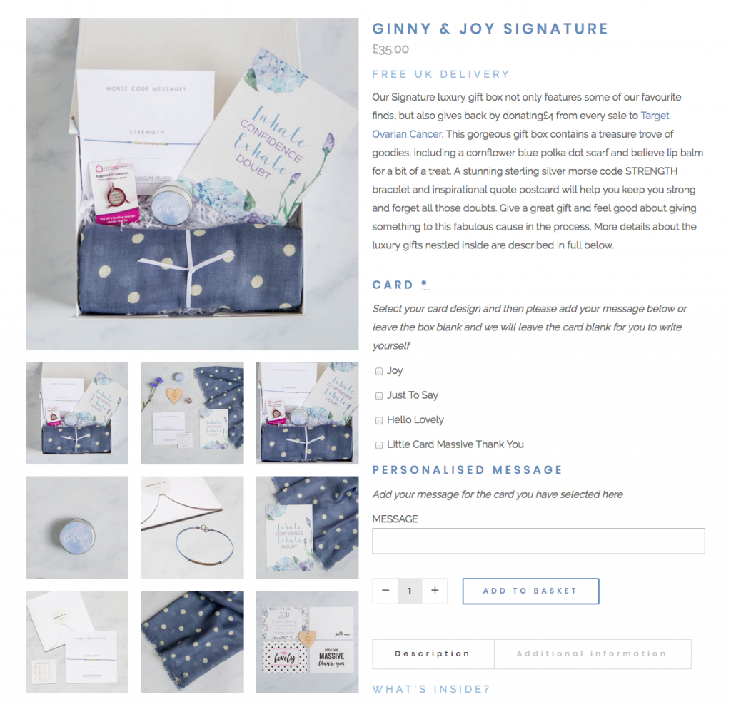 screen shot of client website showing flat lay product photography for gift box company
