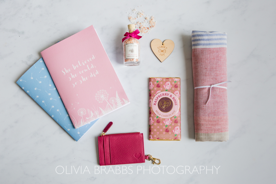 flat lay product image for luxury gift box company ginny and joy