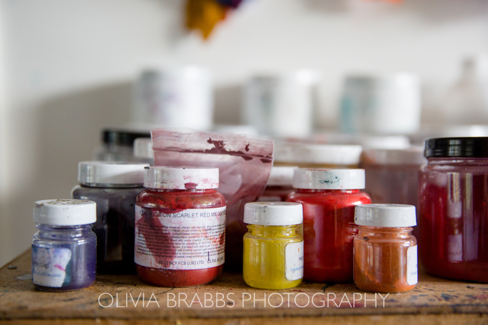 fabric dyes in artist studio
