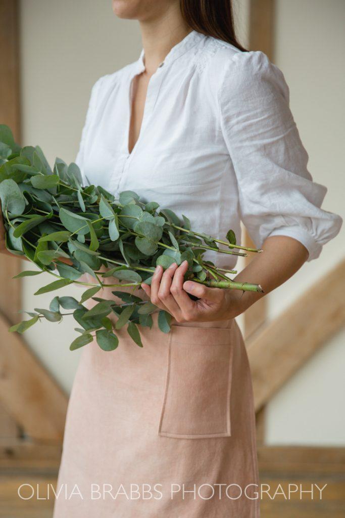 eucalyptus and hand dyed apron www.oliviabrabbs.co.uk