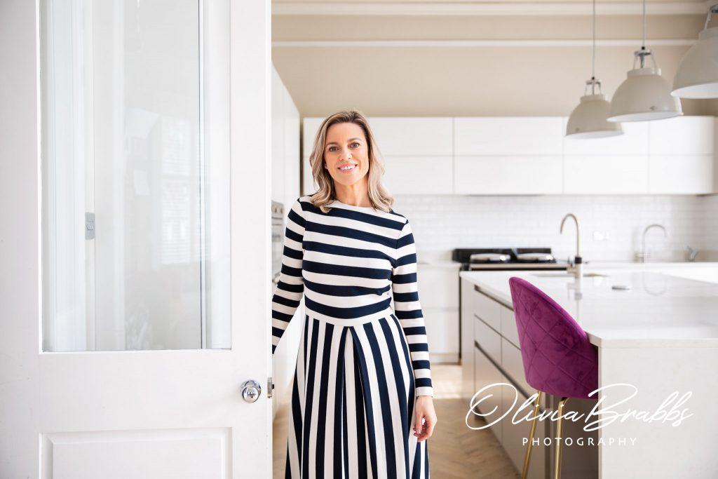 personal branding portrait in designer kitchen in Leeds for murray hurst interiors