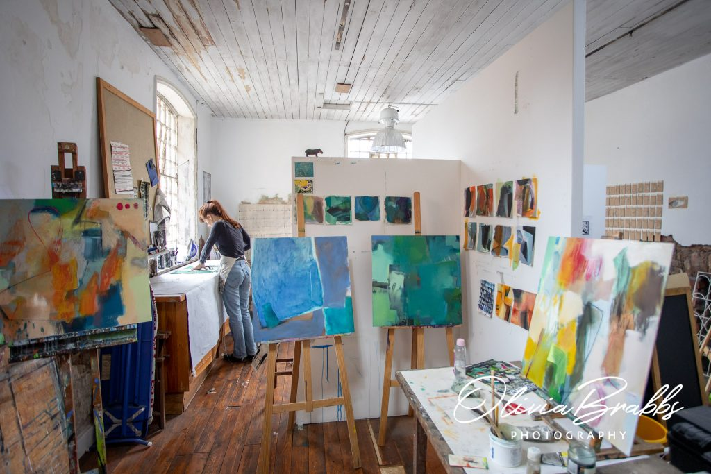view of water house studios with work of artist emma whiting and ros johnson design