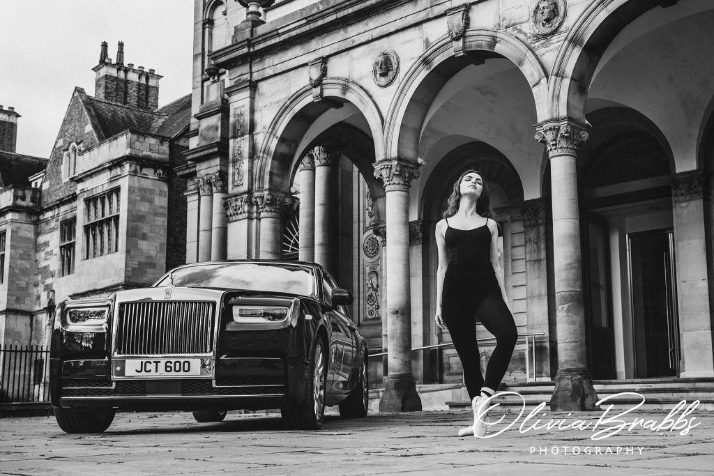 female model and ballerina outside york art gallery with a rolls royce phantom