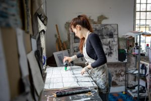 artist ros johnson at work in water house studios in york