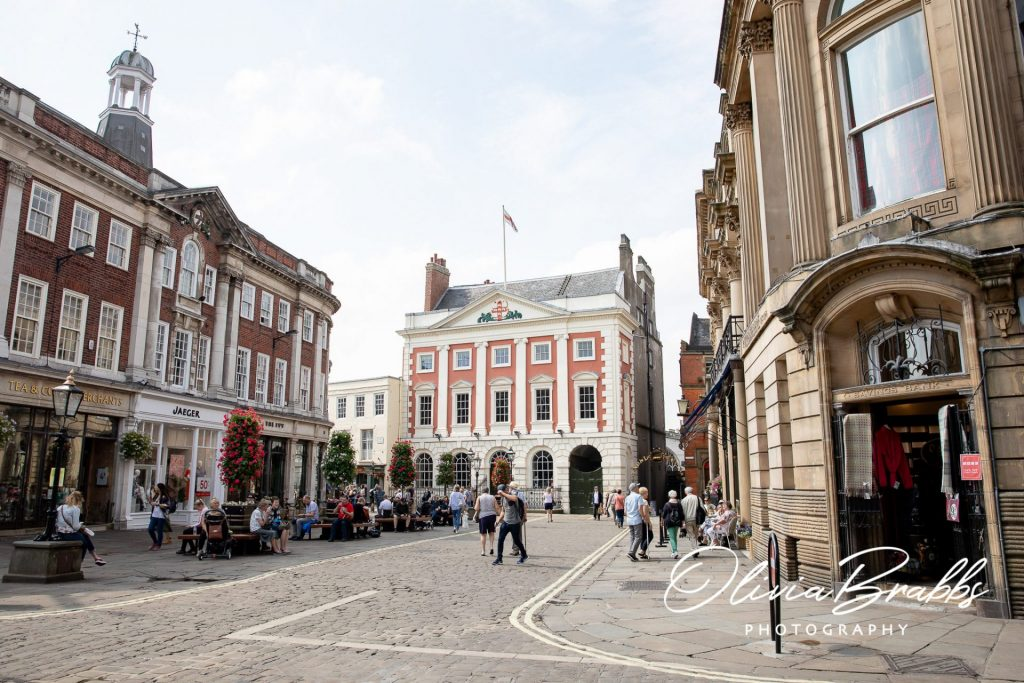 view of st helens square in york to showcase location of york mansion house