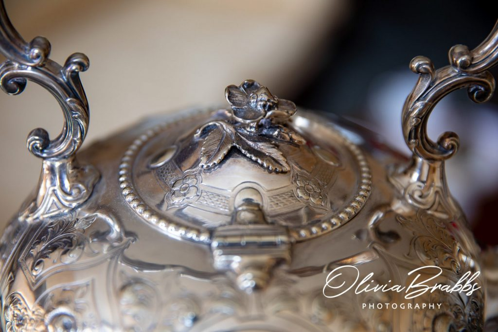 close up view of silver teapot at york mansion house
