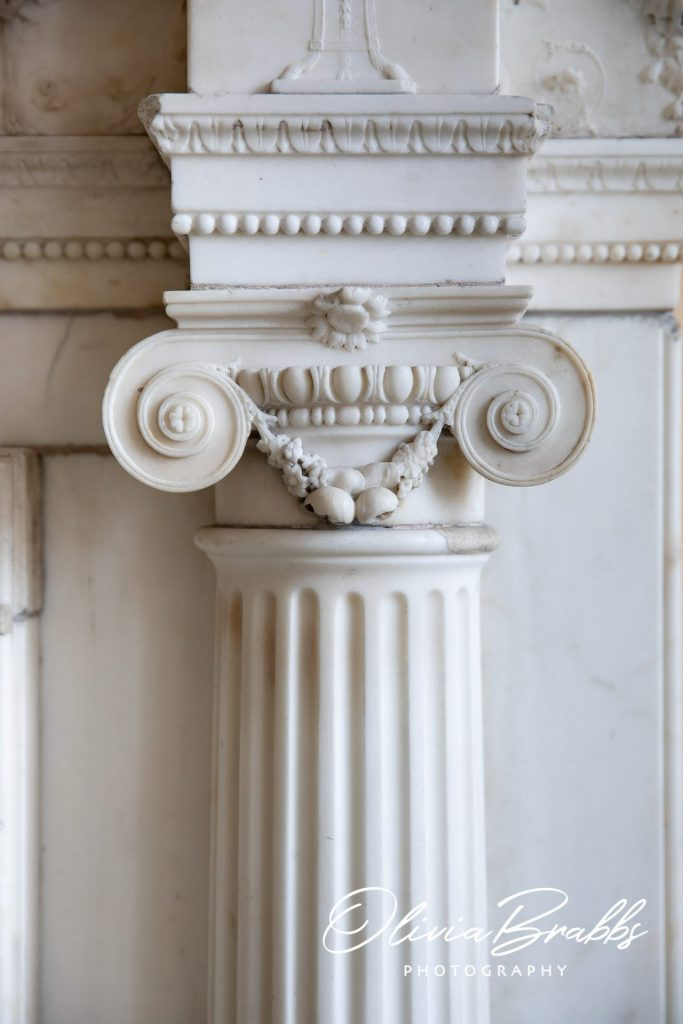 white marble fireplace surround at york mansion house