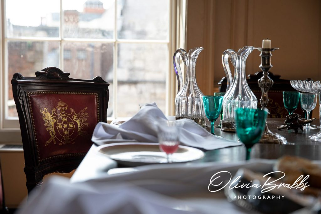dining table set to show replica georgian feast at york mansion house