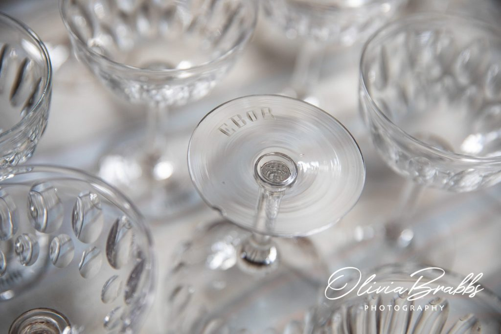 glassware detail with etching of word ebor at york mansion house