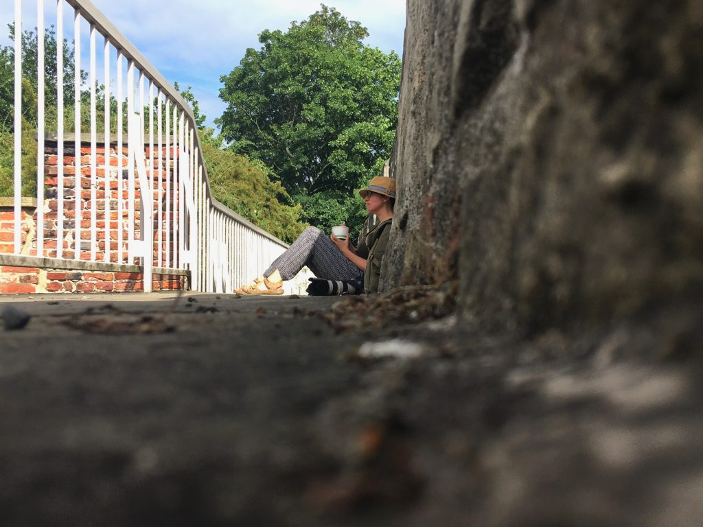 yorkshire photographer olivia brabbs on york city walls during a heritatage photography commission