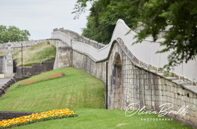 view of york city walls by station arches