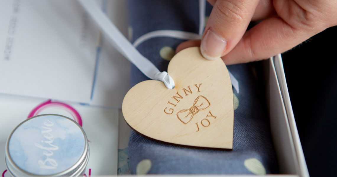 detail of branding for gift box company ginny and joy