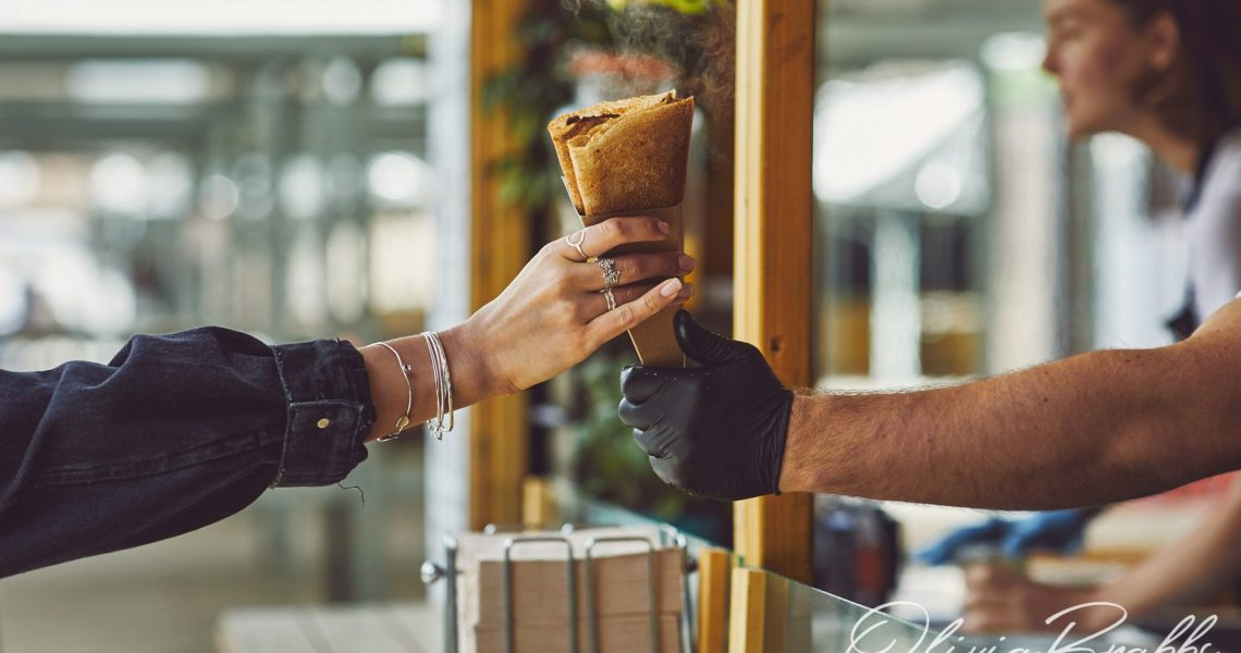 documentary food photography of street food galettes
