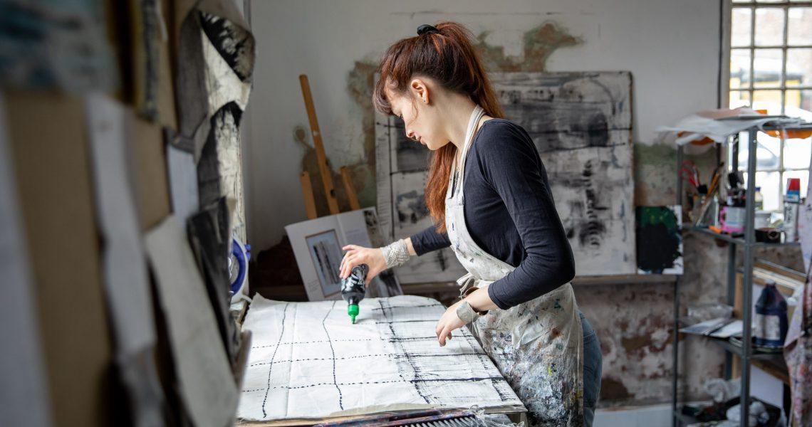 artist ros johnson at work in water house studios in york